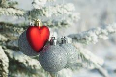 Jouet de coeur avec les boules argentées sur une branche de pin dans la forêt neigeuse Photographie stock libre de droits