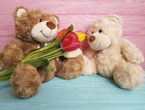 Jouet de deux ours, en bois Photo stock
