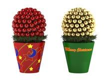 Jouet de Noël. Cône décoratif de pin dans un pot Photos libres de droits