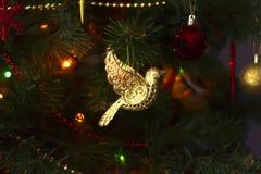 Jouet de Noël, oiseau d'or Photographie stock libre de droits