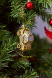 Jouet de Noël, voiture d'or Image stock