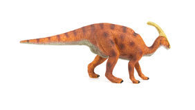 Jouet de Parasaurolophus de brun de vue de côté sur le fond blanc photos stock