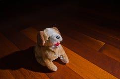 Jouet de poupée de chien de peluche se reposant avec obéissance devant le projecteur Photo stock