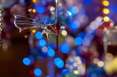 Jouet en verre de Noël, comète. Lumières de luxe Images stock