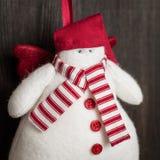 Jouet fait main de Noël de bonhomme de neige Photo stock