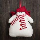 Jouet fait main de Noël de bonhomme de neige Image stock