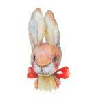 Jouet mignon de lapin d'aquarelle avec le papillon Photo libre de droits