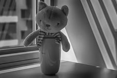 Jouet monochrome de chaton avec la tasse se reposant par la fenêtre dans les ombres Photo libre de droits