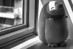 Jouet monochrome de pingouin se reposant par la fenêtre dans les ombres Photographie stock