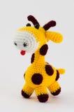 Jouet mou de girafe sur le blanc Images libres de droits