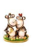 Jouet, singe deux avec des bananes Images libres de droits