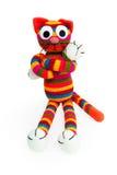 Jouet tricoté - chat rayé Photographie stock
