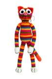Jouet tricoté - chat rayé Images libres de droits