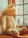 Jouet utilisé par vintage d'ours de nounours regardant hors d'une fenêtre Images stock
