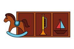 Jouets d'enfant de trompette de bateau de cheval de basculage illustration de vecteur