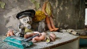 Jouets d'enfants dans le jardin d'enfants dans Pripyat Images libres de droits