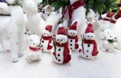 Jouets de bonhommes de neige de Noël photographie stock