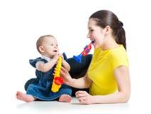 Jouets de musical de pièce de mère et de bébé Images libres de droits