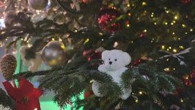 Jouets de Noël accrochant sur les branches du sapin Décoration de fête de la ville clips vidéos