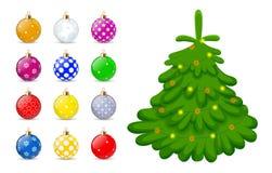 Jouets de Noël pour l'arbre de Noël d'isolement sur le fond blanc Jouet de Noël de vacances pour l'arbre de sapin Vecteur illustration de vecteur