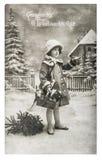 Jouets de vintage de cadeaux d'arbre de Noël de petite fille photos stock