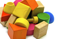 Jouets en bois colorés Photo libre de droits