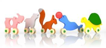 Jouets en bois colorés d'isolement sur le fond blanc - rendu 3d Photos libres de droits