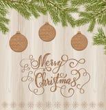 Jouets en bois sur le fond d'arbre de Noël Image stock