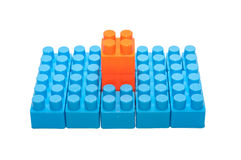 Jouets pour enfants colorés, blocs constitutifs en plastique Images libres de droits