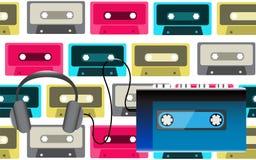 Joueur audio portatif volumétrique réaliste de cassette de musique de vieux rétro hippie bleu de vintage pour des audiocassettes  illustration stock