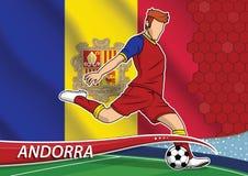 Joueur d'équipe du football dans l'uniforme avec le drapeau national d'état d'Andorr Images libres de droits