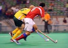 Joueur d'hockey dans l'action Photographie stock