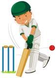Joueur d'homme jouant le cricket illustration de vecteur