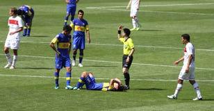 Joueur d'Injuried pendant une allumette Image libre de droits