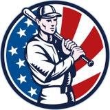 Joueur de baseball américain avec 'bat' Photographie stock libre de droits