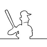 Joueur de baseball avec 'bat' Photo libre de droits