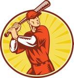Joueur de baseball avec 'bat' maniant la batte le rétro type Photos stock