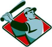 Joueur de baseball avec 'bat' maniant la batte le rétro type Photos libres de droits