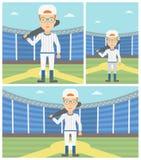 Joueur de baseball avec l'illustration de vecteur de batte Image stock