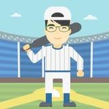 Joueur de baseball avec l'illustration de vecteur de batte Photographie stock