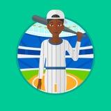 Joueur de baseball avec l'illustration de vecteur de batte Images libres de droits