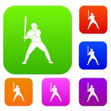 Joueur de baseball avec la collection réglée de couleur de batte Photographie stock libre de droits