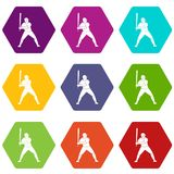 Joueur de baseball avec le hexahedron réglé de couleur d'icône de batte Images stock
