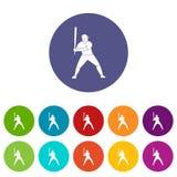Joueur de baseball avec le vecteur plat réglé par icônes de batte Photos libres de droits