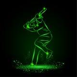 Joueur de baseball avec une batte Type au néon Photos stock