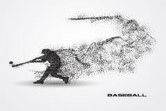 Joueur de baseball d'une silhouette de particule Photographie stock