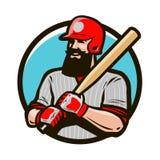 Joueur de baseball dans le casque tenant la batte de baseball Logo ou label de sport Illustration de vecteur de mascotte Image libre de droits