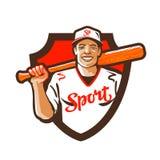 Joueur de baseball de bande dessinée avec la batte à disposition Illustration de vecteur Images libres de droits