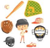 Joueur de baseball de garçon, future illustration professionnelle rêveuse de profession d'enfants avec connexe aux objets de prof Photographie stock