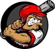 Joueur de baseball dur avec 'bat' de fixation de casque Images stock